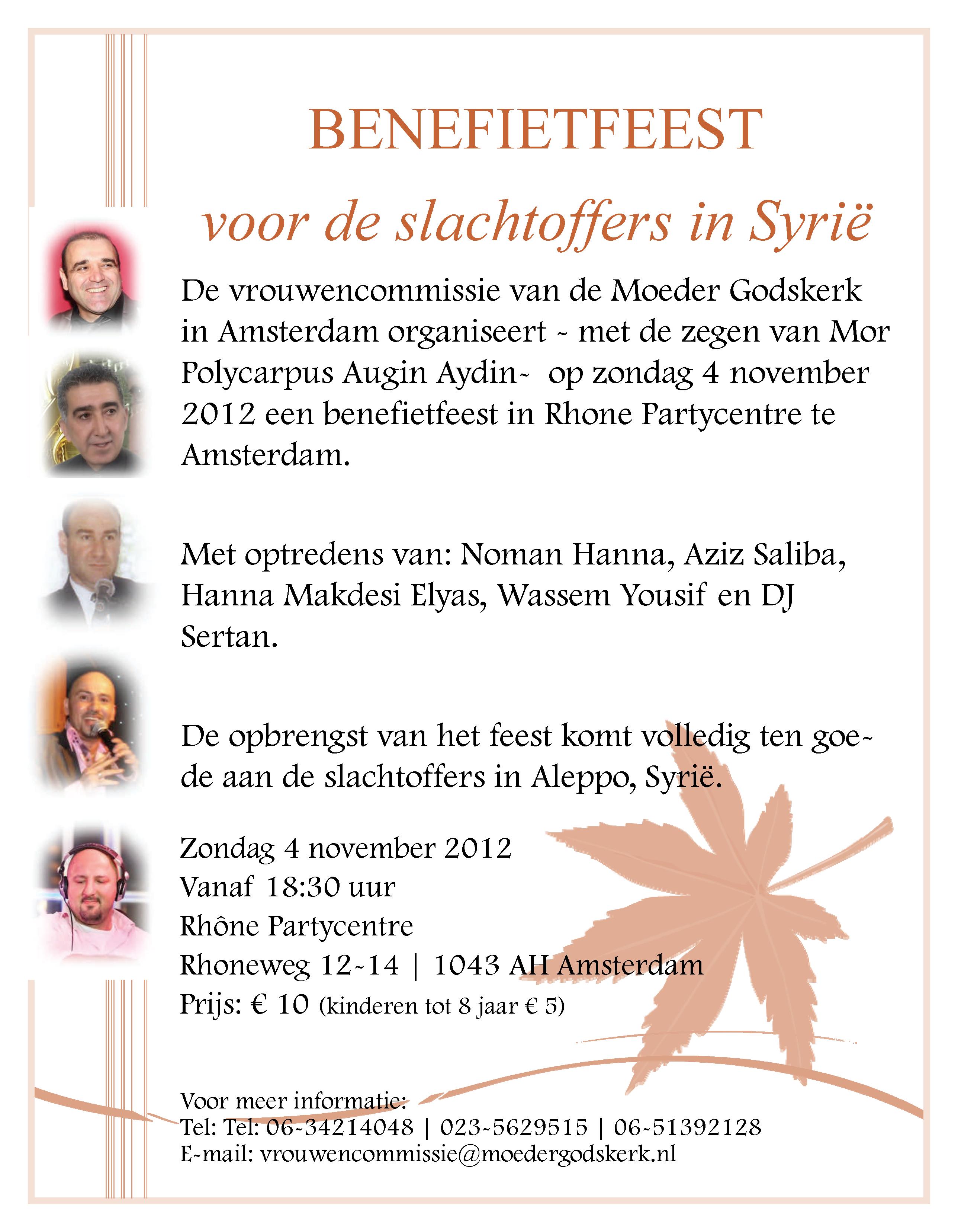 Benefietfeest voor de slachtoffers in Syrië